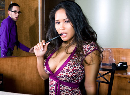 Asian Mommy Sucking Her Pen In The Office Thinking About Sex